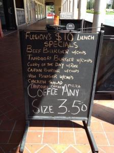 fusion cafe specials board