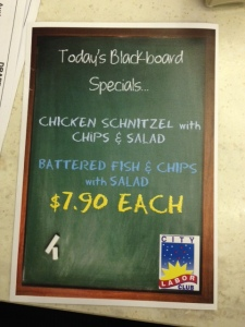 labor club specials board