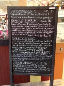 francescos menu board