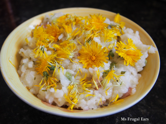 Risotto topped with dandelions