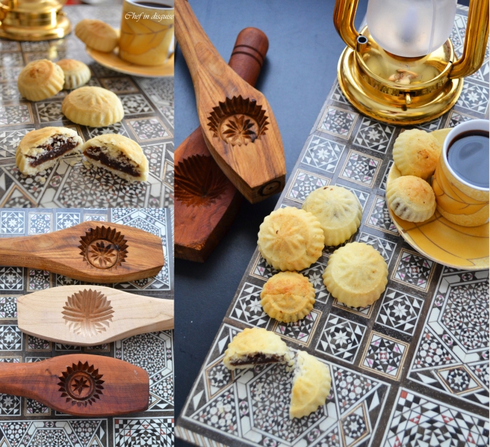 Semolina maamoul cookies and moulds